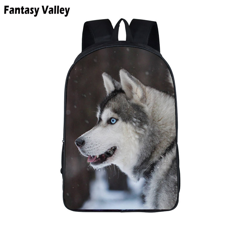 Student Backpack Husky Lovely Travel-Bags School-Bag Animal-Print Teenager Girls Women