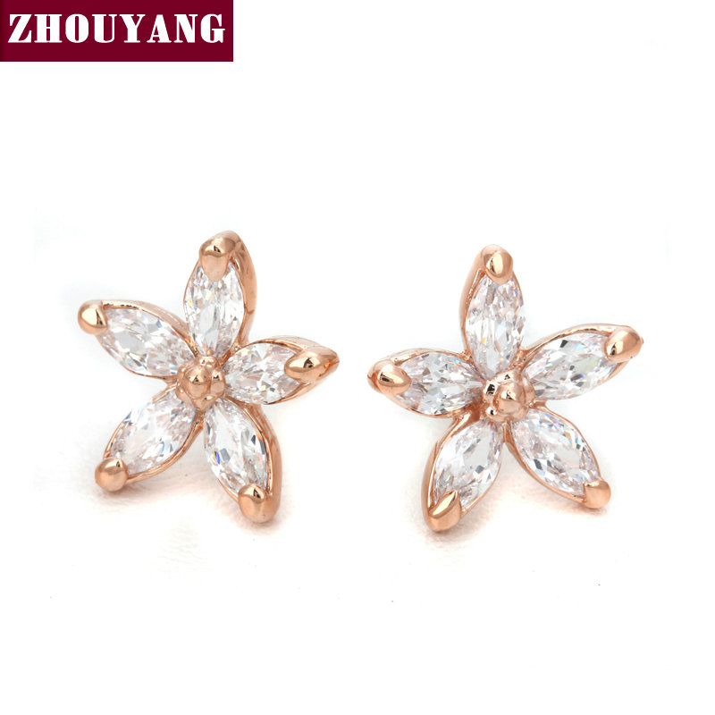 Top Quality Wintersweet Rose Gold Color Stud Earrings Genuine Austrian Crystal Wholesale ZYE062 ZYE007 ZYE008