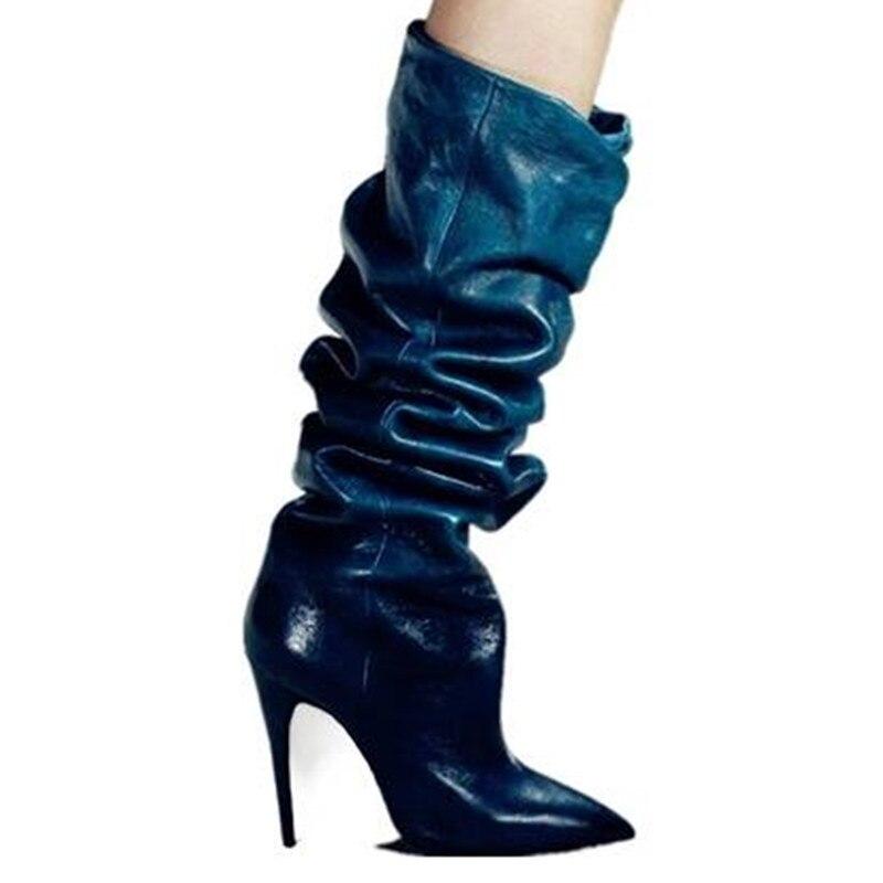 Botas Mujer Tacones Zapatos Mujeres Genuino as Invierno As Cuero  Deslizamiento Rodilla Nuevo Otoño Diseño De Toe Altos ... 4128481fc118