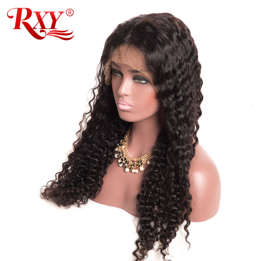 RXY Brazilian Deep Wave Wig 180% Glueless Lace Front Human Hair Wigs For Women Lace Front Wig With Baby Hair Non Remy Black Hair