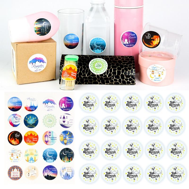 60pcs Eid Mubarak Paper Stickers Gift Seal Labels Islamic Ramadan Party Decor