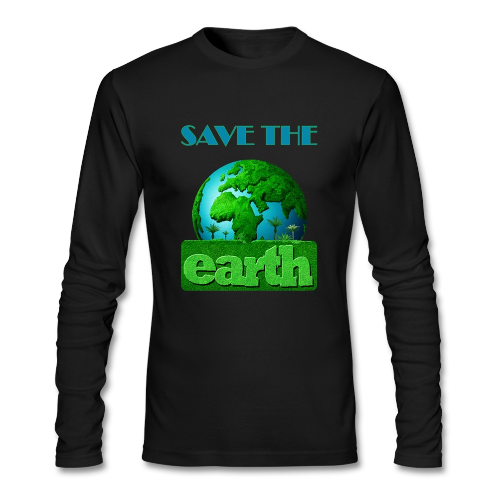 Design your own t-shirt and save it - Man Softy Fabric Autumn Cotton Tees Men Clear Earth Day Teenage Long Sleeves Crewneck Design Your Own Shirt
