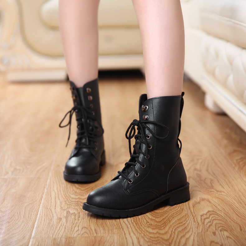low priced official how to buy Big size 34~42 Black PU Leather Punk Lace Up Rivet Motorcyle ...