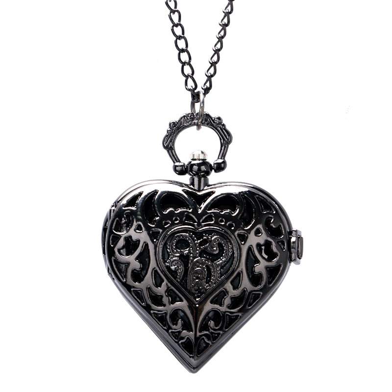 Steampunk Charm Dark Black Heart Shape Hollow Design Quartz Pocket Watch Necklace Pendant Chain Womens Ladies Girl Lovely Gifts