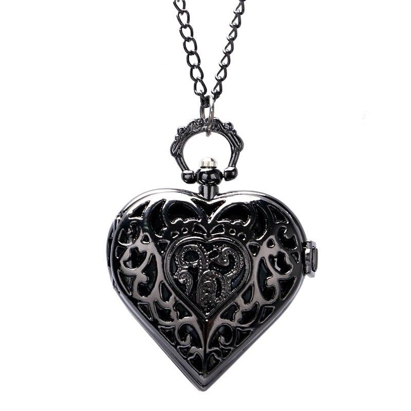 Steampunk encanto negro oscuro corazón forma hueco diseño cuarzo ...