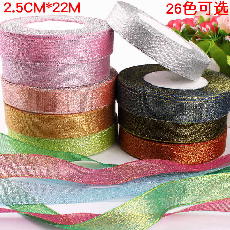 2.5cm Ribbon For Christmas Gift Bake Box Metallic Glitter Ribbons Bows Cake Tape Decoration Wrapping Wedding Party 5/8 Inch