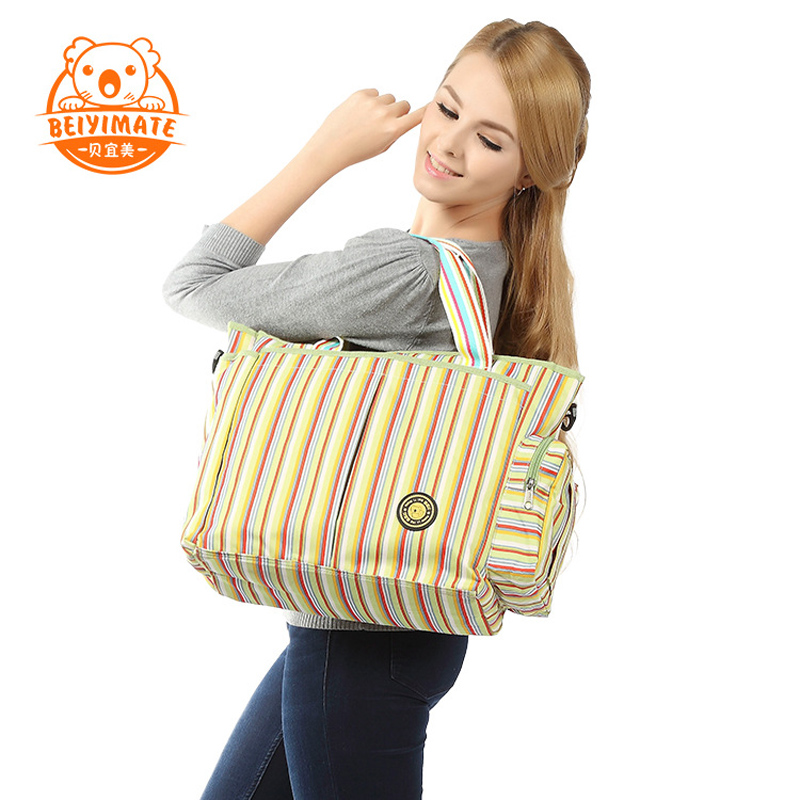 2018 Diaper Bag Multifunctional Maternity Nappy Bag Cotton Fashion Rainbow Stripes Mommy Tote Bag 3 in 1 Bag Suit Bolsa For Baby new arrivalbebear diaper bag dot baby bag water proof maternity bag multifunctional bolsa maternidade messenger bag