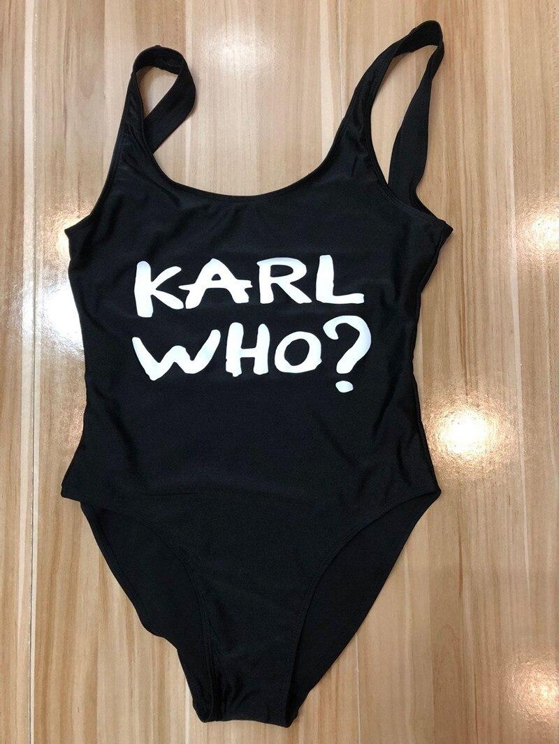 ¿KARL que? 2018 Sexy traje de baño mujeres una pieza traje de baño de alta cintura traje de baño blanco negro Beachwear Monokini más traje de baño tamaño