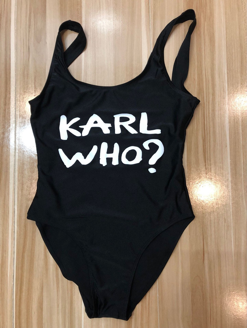 KARL WHO? 2018 Sexy Swimwear Women One Piece Swimsuit High Waist Bathing Suit White Black Beachwear Monokini Plus Size Swim Suit