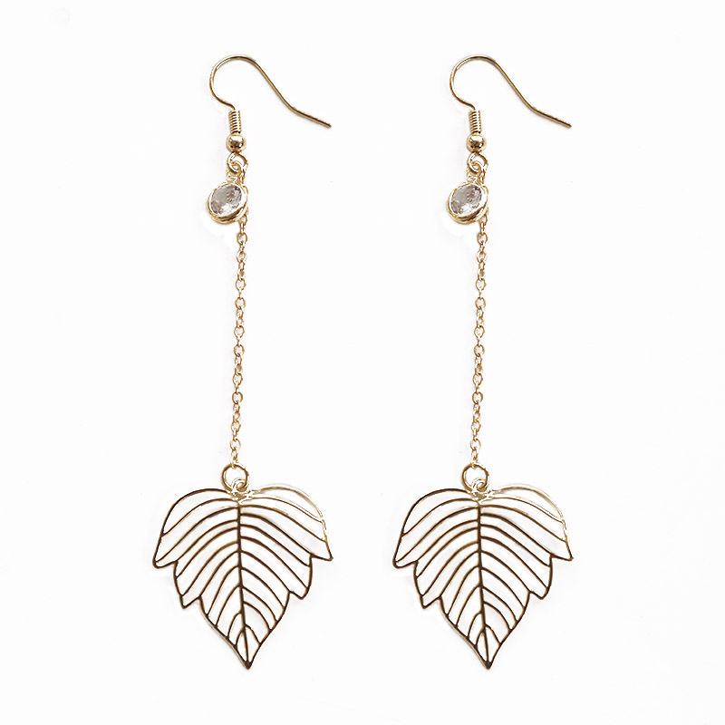 SANSUMMER Exquisite Pure Color Metal Hollow Copper Leaf Chain Water Drill 2019 New Fashionable Temperament Earrings Girl 6487