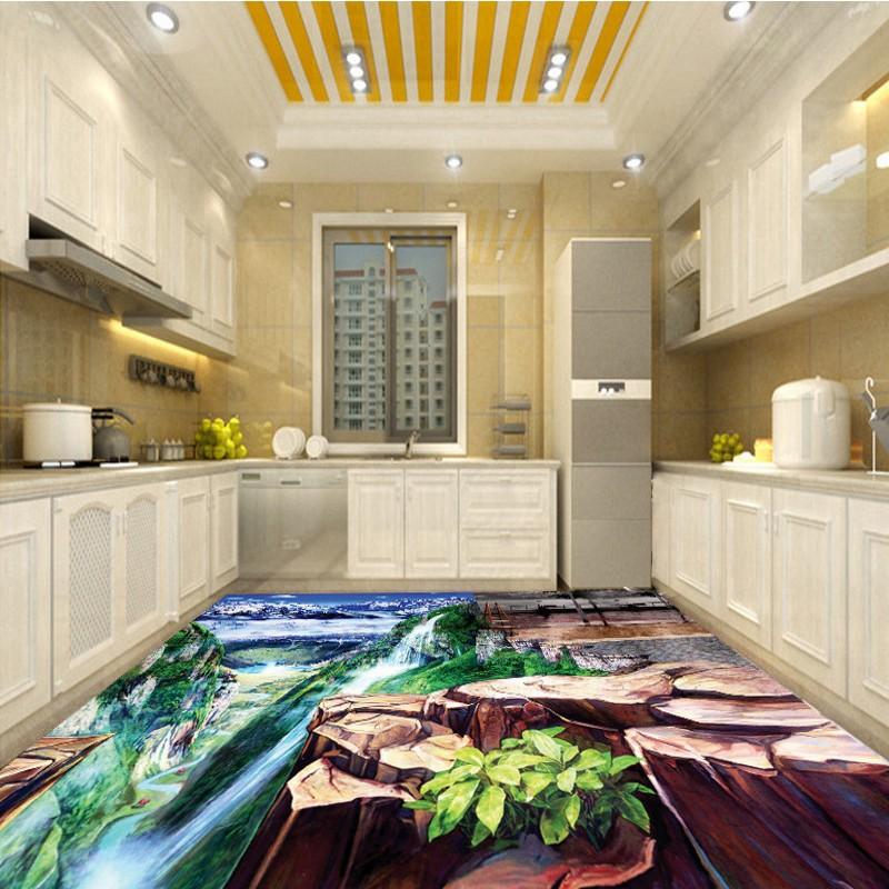 Free shipping custom mountains flowing water self-adhesive non-slip living room bedroom decoration floor wallpaper mural free shipping marble texture parquet flooring 3d floor home decoration self adhesive mural baby room bedroom wallpaper mural