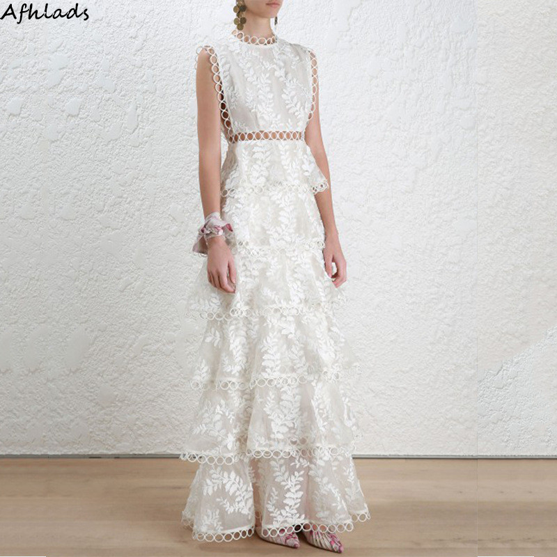 White lace hollow out patchwork embroidered dress summer sleeveless holiday sleeveless vest round neck fashion style maxi dress