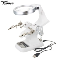 Topacc Multifunctional Welding Magnifier LED Helping Hand Soldering Iron Stand Magnifying Lens Magnifier Clamp Educational Tool