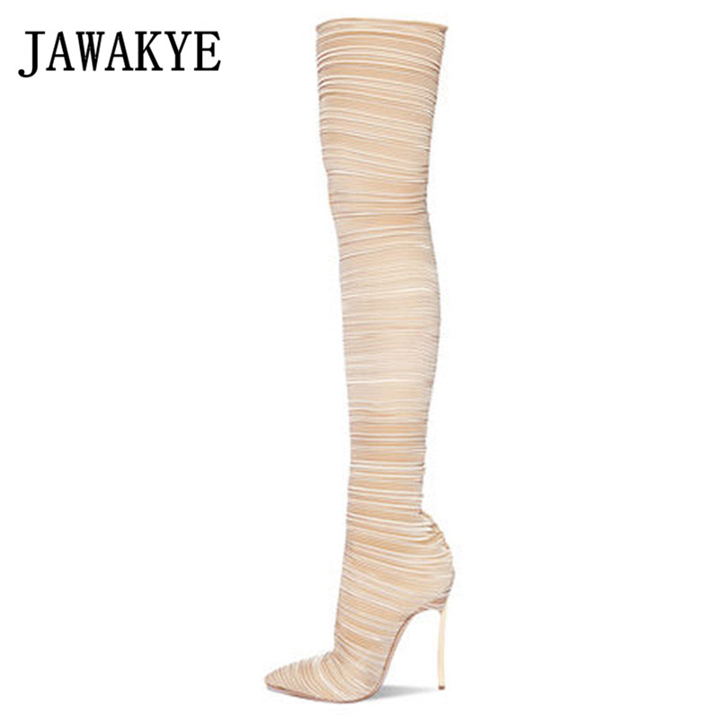 Ranway elastic over the knee boots women sexy pointed toe super thin high heels shoes ladies slim thigh high boots for women
