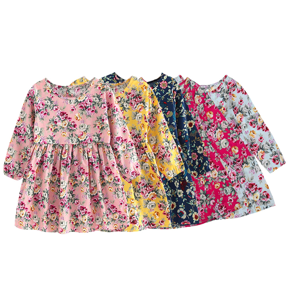 Summer Baby Kids Dresses Children Girls Long Sleeve Floral Princess Dress Spring Summer Dress Baby Girls Clothes dress for girl girls dresses baby girl long sleeve dress new autumn cotton denim dress for girls children costumes vestidos kids clothes