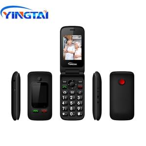 Image 2 - 원래 yingtai t22 3g mtk6276 gprs mms 큰 푸시 버튼 수석 전화 듀얼 sim 듀얼 스크린 플립 휴대 전화 노인 2.4 인치