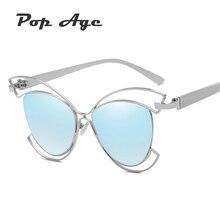 Pop Age 2018 New Hollow Cat Eye Sunglasses Women High quality Ladies Mirror Sun glasses Luxury Eyewear Lunettes de soleil 400UV