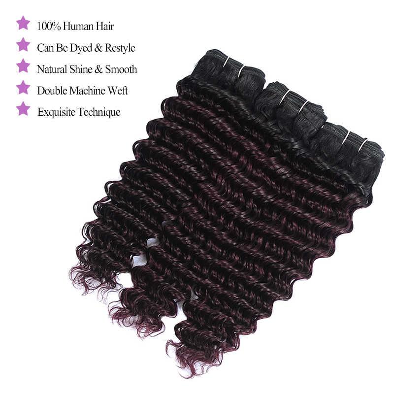 Shining Star глубокая волна Ombre бордовый темно красный перуанский натуральные волосы Weave Глубоко Вьющиеся Связки с синтетическое закрытие волос виноград