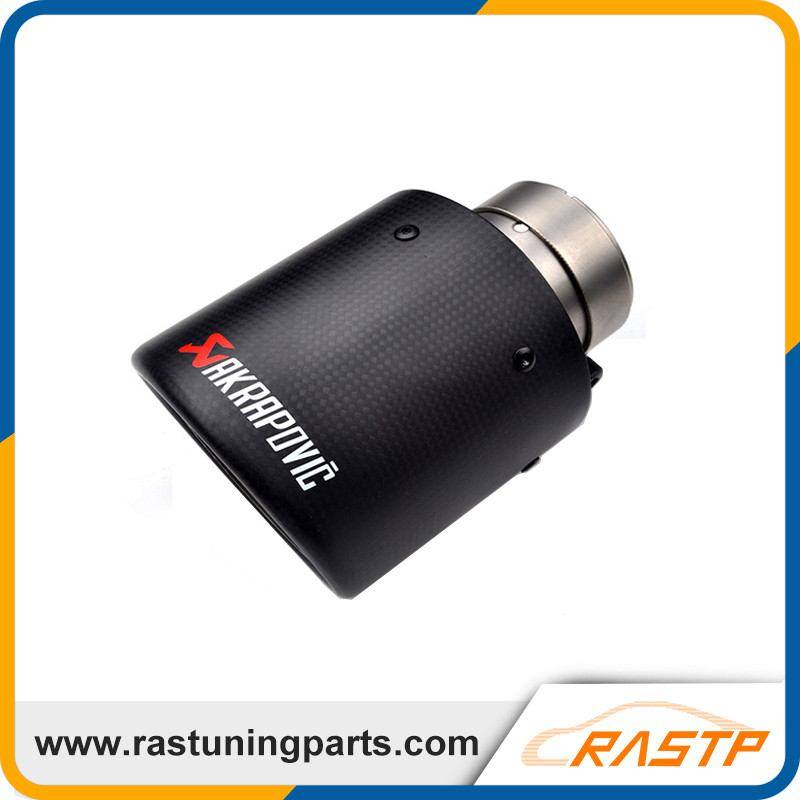 ФОТО RASTP - Carbon Fiber Coated Stainless Steel Universal Car Exhaust Pipe Tip Tailtip 76mm Akrapovic Car Exhaust Mufflers LS-CR1001
