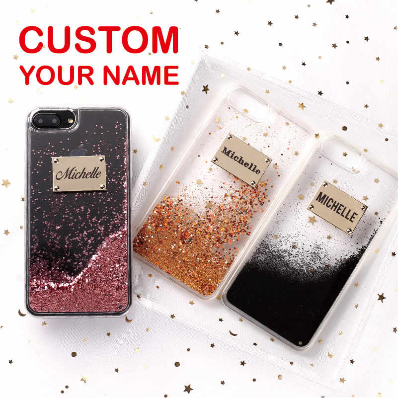 Glitter Sparkle Rose Gold Metalen Plaat Laser Graveren Custom Naam Telefoon Case Voor Iphone 11 Pro Max 6 6S xs Max 7 7Plus 8 8Plus X