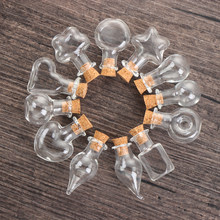 5/10pcscork rolha pequena garrafa de vidro vazia minúsculos frascos de vidro desejando garrafa de vidro pequeno diy casamento decoração para casa armazenamento frasco