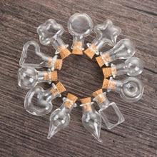 5 pièces bouchon en liège petite bouteille en verre vide petits pots en verre avec liège décoratif souhait pots en verre de mariage vacances Mini conteneurs