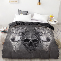 3D Print Duvet Cover Custom Design,Comforter/Quilt/Blanket case Queen/King,Bedding 220x240,Bedclothes Animal Skull Wolf