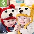 2016 Chapéu Do Inverno Do Bebê Recém-nascido Da Menina do Menino Crianças Beanie Tampões de Ouvido para As Crianças Bonito Dos Desenhos Animados Urso Chapéu de Lã Super Fashion E Quente