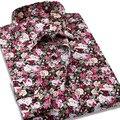 Мужская мода Повседневная Отпечатано Цветок Рубашка С Длинным Рукавом 100% Хлопок Марка Рубашки Платья Высокое Качество Slim Fit Мужские Рубашки