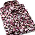 Hombres de la manera Ocasional Impresa Flor Camisa de Manga Larga 100% Algodón Camisas De Vestir De Marca de Alta Calidad Slim Fit Camisas Masculinas