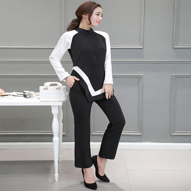 Autumn Fashion OL Retro Black White Spell Color Shirt +Wide Leg Pants Suits Lady Suit With Pants Elegant
