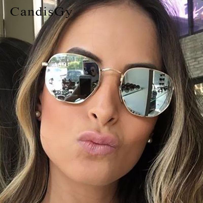 ჱМодные Солнцезащитные очки для женщин шестиугольник Для мужчин Для ... bab7b9a9439