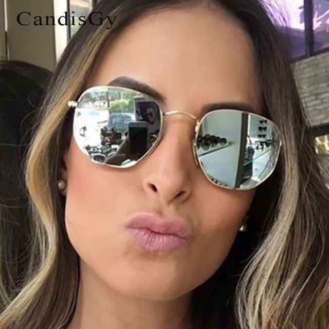 b6f16d0d7d75 Fashion Sunglasses hexagon Men Women Cat Eye Famous New Brand Designer New  Mirror Lady Female Trend Sun glasses UV400