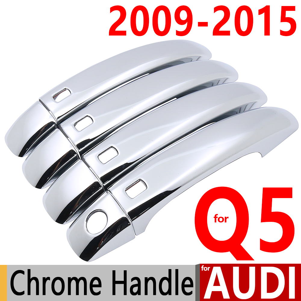 Para Audi Q5 Luxuoso Chrome Door Handle Covers Guarnição Set de 4 Porta Q5 2009-2015 Acessórios Do Carro Carro Styling 2010 2011 2012 2013 2014