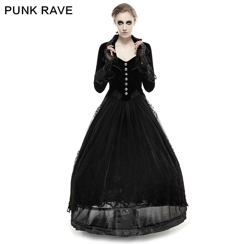 227d5fe8eefd PUNK RAVE Fashion Women Gothic Punk halloween Black Jacket Steampunk Victorian  Black Vintage Velvet Fabric long coats-in Wool   Blends from Women s  Clothing ...