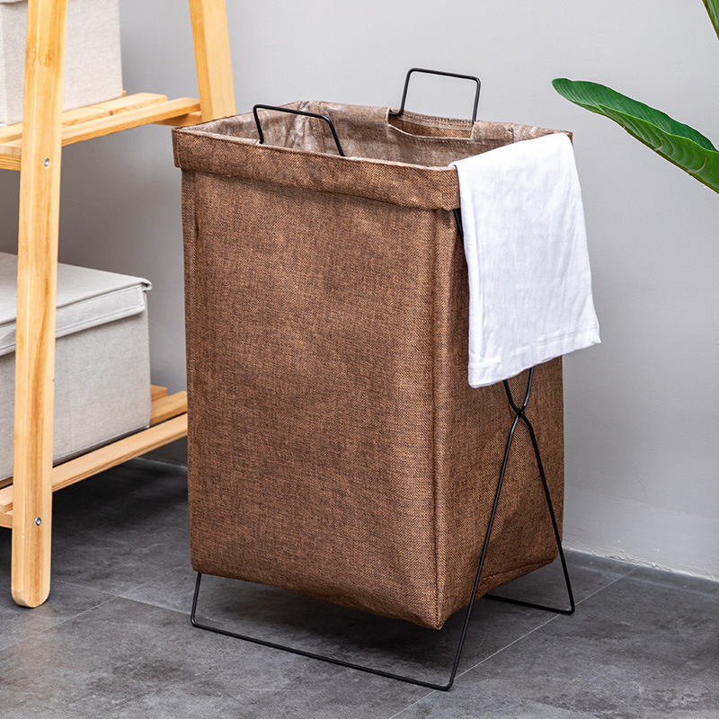 Baffect Waterproof Canvas/Imitation Linen Laundry Organizer Bag Dirty Laundry Hamper Collapsible Home Laundry Basket Storage Bag