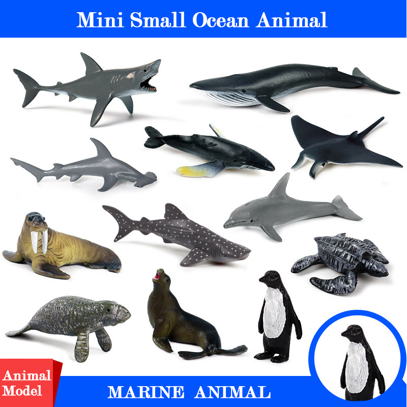 Mini Action&Toys Figure Ocean Marine World Animal 14 Styls Sea Life Penguin Shark Whale Dolphin Collection Model For Kids Gift