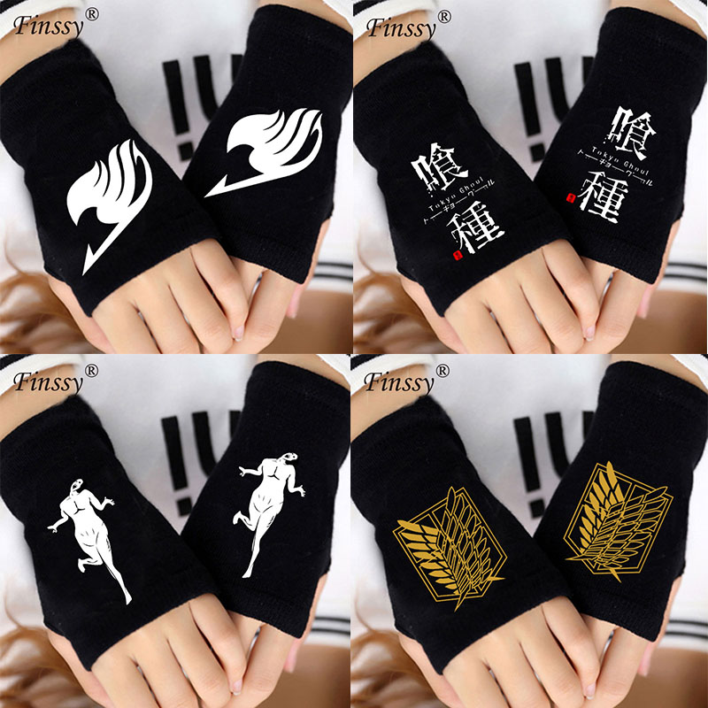 Komfortable Finger Handschuhe Anime fairy tail <font><b>icon</b></font> NARUTO Sharingan Tokyo Ghoul Angriff auf die titan Cosplay Stricken Handschuhe image