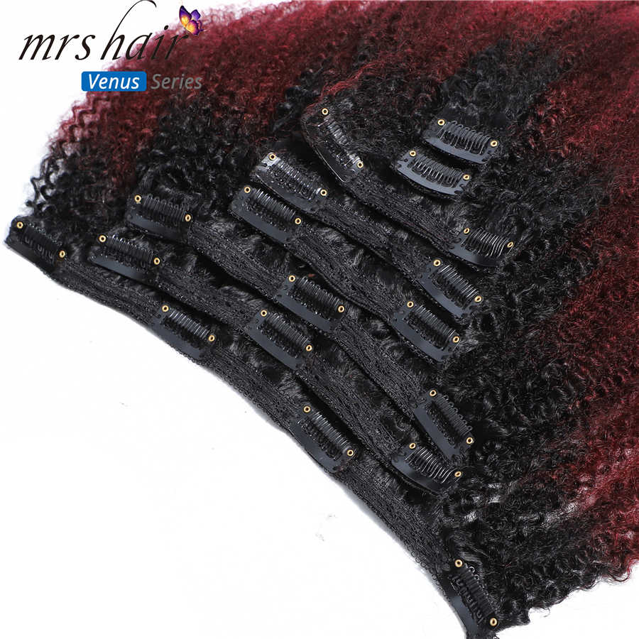 """MRSHAIR 8pcs/set Afro Kinky Curly Wave Remy Human Hair Clip In Hair Extensions 8""""-20"""" Natural Color Full Head 120g Middle Thick"""