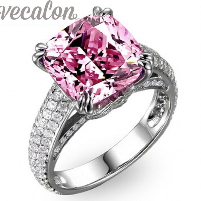Vecalon Cushion cut 8ct Pink Cz diamond ring Engagement wedding Band ring for women 925 Sterling Silver Female Finger ring Ring