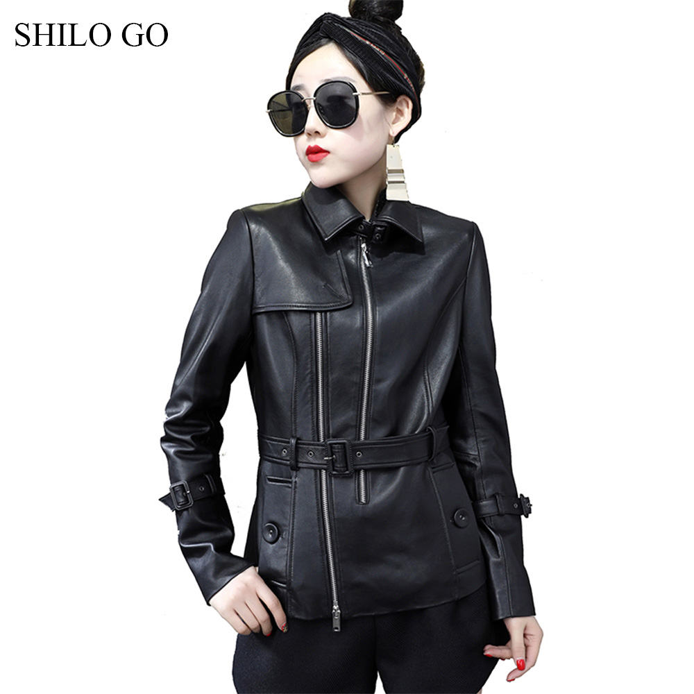 SHILO GO Leather Jacket Womens Spring Fashion sheepskin genuine leather coat lapel collar England belt slim locomotive jacket