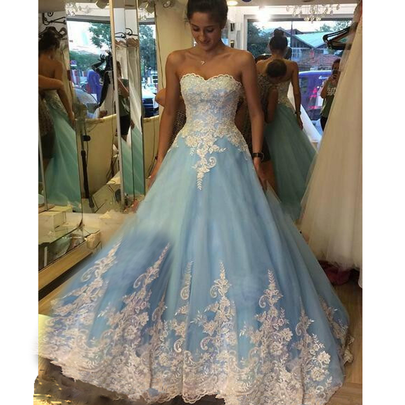 Vintage Dresses Blue Wedding: 2016 Retro White And Blue Wedding Dresses Sweetheart Lace
