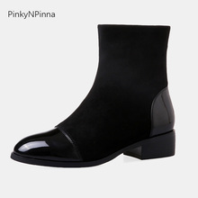 2019 new arrival winter women chic black ankle boots patent leather round toe flock short plush chunk heels office booties
