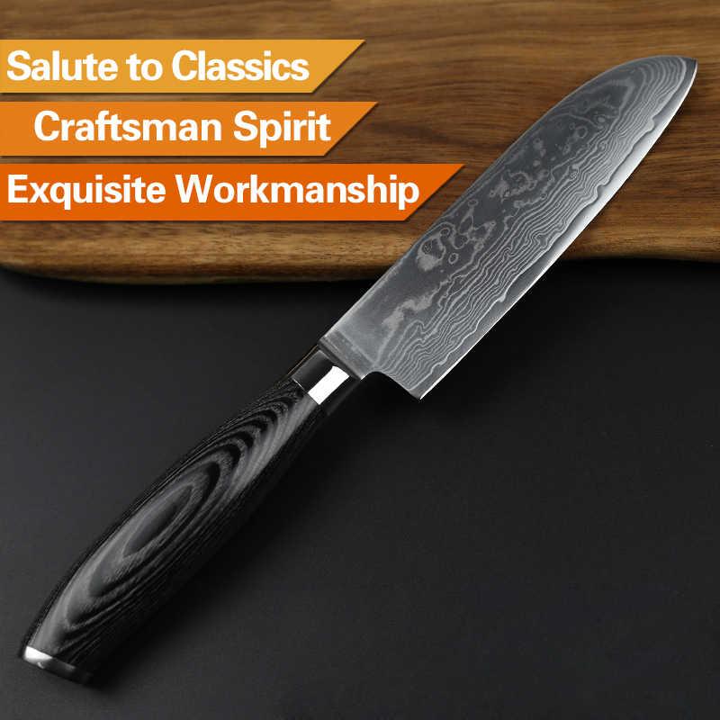"XINZUO 5"" inch Japan Chef Knife 73 layers Japanese Damascus Steel Kitchen Knife Razor Sharp Santoku Knife with Pakka Wood Handle"