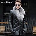 2016 Новый мужской Подлинной Кожа Овчины Вниз Пальто С природный Silver Fox Меховой Воротник Черный Реальный Кожаный Пиджак Для зима
