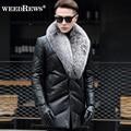 2016 hombres A Estrenar de piel de Oveja Genuina Abrigo de Cuero Hacia Abajo Con Natural Silver Fox Cuello de Piel Negro de Cuero Real Chaqueta Para invierno