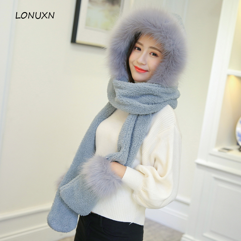 3 Pieces/lot 5 Colors Winter Women Warm Hats+ Scarves+gloves Korean With Plush Christmas Gift Plus Velvet Thickening Girls Hat