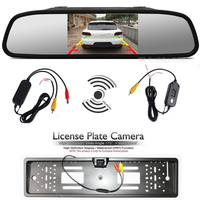 2 4Ghz Wireless Set To Connect 5 Inch Car Rear View Monitor And Europe License Plate