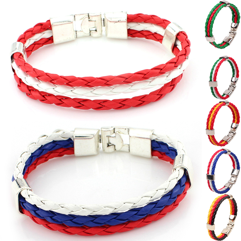 Sale Unisex Fashion Country Flag 3 Rope Braided Leather Bangle Bracelet For Women Men Jewelry 10 Flag Styles