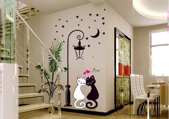 Stiker Dinding Dekorasi Rumah Hiasan Untuk Decals R Anak Lampu Bunga Bintang Bulan Kucing Ws001 In Wall Stickers From Home